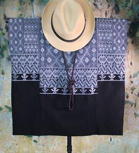 L/XL Huipil Black & Gray Handwoven Backstrap Loom Mayan Magdalena Chiapas Mexico