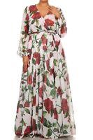 Maxi Dress Floral Chiffon Sheer Wrap Print Long Sleeve Wrap Sweep Red Large