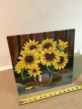 12 x 12 ceramic tile with sunflowers with stand