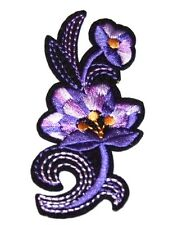Purple Flowers Embroidery Sew, Iron On Patch for Clothes, Jeans, Fabric Applique