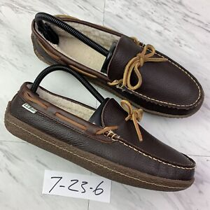 L.L. Bean Mens Moccasin Slippers Brown Leather Moc Toe Shearling (size 7) Z3-6