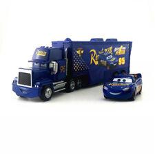 Cars 3 Kids Toys Lighting Mcqueen Mack Trucks Trailer Metal 1:55 Loose Toy Car