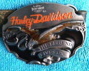 💫 💫 HARLEY DAVIDSON 1990 THE LEGEND LIVES ON BELT BUCKLE  💫 💫