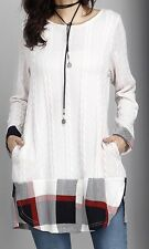 XL NWT Reborn Winter White & Plaid Cable Knit LS Tunic Sweater With Pockets
