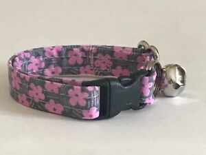 PINK DAISIES DAISY ON GREY print CAT OR KITTEN COLLAR (you choose the size)