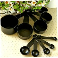 10Pcs Black Plastic Measuring Spoons Cups Set Tools For Baking Coffee Tea BU