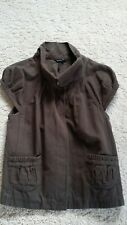 TOPSHOP BROWN CAPPED SLEEVE GILLET JACKET TOP SZ 10 POPPERS