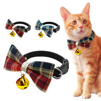 Grid Dog Cat Bow Tie Collar Necktie Necklace Pet Collar for Chihuahua & Bell