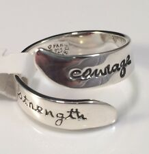 Courage Strength Adjustable Ring Band 925 Sterling Silver Far Fetched Gift Boxed