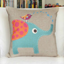 Vintage Linen Cotton Couch Sofa Cushion Cover Pillow Case - Elephant 45 X 45 cm