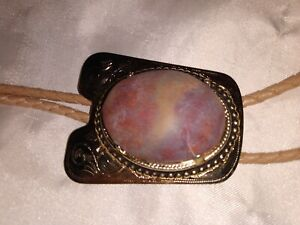 Vintage Northern Arizona Rainbow Petrified Wood Bolo Tie