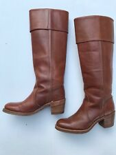 Vintage FRYE 8515 Leather Brown Boots Tall Rollover Top Women's Pull On Sz 7 AA
