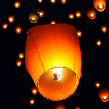 50 White Chinese Paper Sky Flying Wishing Lantern Fly Lamp Candle Party Wedding