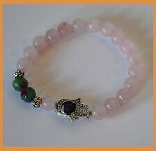 Rose Quartz with Anyeolite Beads Hamsa Energy Healing Protection Bracelet