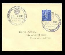 Poland Ww2 Fpo 1942 State Eagle Postmark on Very Fine Cover.George King