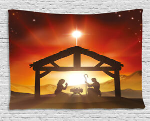 Religious Tapestry Baby Messiah Nativity Print Wall Hanging Decor 60Wx40L Inches