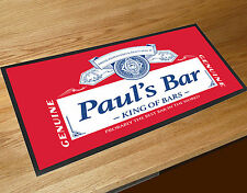 Personalised Red Beer Label bar runner Pubs & Cocktail Bars Bar Mat