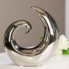 Skulptur Dekoobjekt Creek geschwungen Silber Keramik H. 19 5cm Casablanca