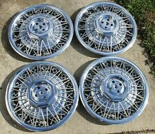 """NOS OEM 1983-1989 Lincoln Town Car 15"""" Wire Spoke Hubcaps Wheel Covers Set of 4"""