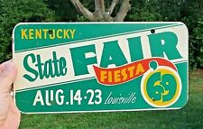 Kentucky State Fair 1969 FIESTA License Plate Tag Louisville Aug.14-23 RARE FIND