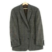 Harris Tweed 100% Laine Marron Veste Blazer Taille US/UK 44 Court Eur 54 Short