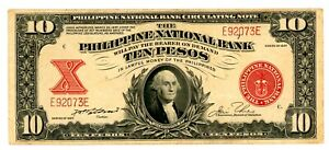 Philippines  ... P-58 ... 10 Pesos ... 1937 ...  Choice *XF* 5 Digits Serial #.