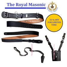 More details for sam browne belt & brace   sword frog  sword knot   black leather  chrome buckle