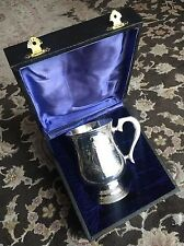 Antique Electro Plated Nickel Silver Tankard In Silk& Velvet Box Never Used!