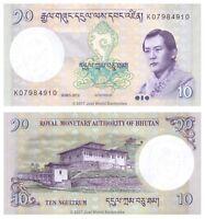 Bhutan 10 Ngultrum 2013 P-29b Banknotes UNC