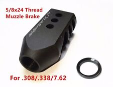 5/8x24 Thread Tanker Style Muzzle Brake for 308 .308 .338 7.62 With Washer