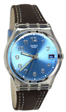 Swatch GM415 Blue Choco Brown Grey Date Analog Dial Leather Unisex Watch NEW