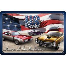 Targa in Latta Vintage US Cars 20 x 30 in metallo stampato e decorato