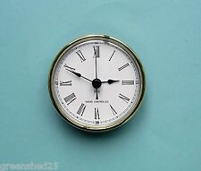 Radio Controlled 80mm GOLD BEZEL QUARTZ CLOCK  insert movement white roman dial