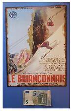 """Targa vintage """"Le Brianconnais, Tourisme, Alpinisme"""", metallo, cm 33x25"""