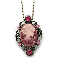 Light Peach Pink Oval Lady Cameo Pendant Necklace Charm Antique Vintage Style p1