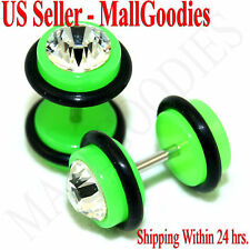 1169 Fake Cheaters Illusion Faux Ear Plugs 16G Bar Look 0G Neon Green Clear CZ