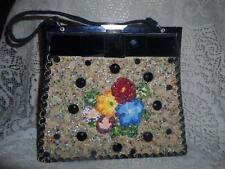 Vintage Womens Hand-Crafted Beaded Black Velvet Pocket Book Purse Evening Bag