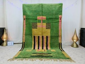 """Moroccan Vintage Boujaad Handmade Wool Rug 5'5""""x8'9"""" Berber Abstract Green Rug"""
