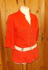PER UNA M&S orange LINEN short sleeve blouse shirt top mandarin collar 14 42