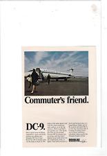 1965 MCDONNELL DOUGLAS DC-9 COMMUTER'S FRIEND AD PRINT D956