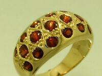 s R134 Genuine 9K SOLID Yellow Gold NATURAL Garnet Domed DOME Ring size M