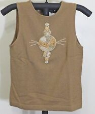 Frisson Brown Women's Casmere Sleeveless Graphic Knit Sweater - Small