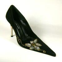 Italian Designer Womens Black Suede Stiletto Heel Shoes Size UK 4 Leather Soles