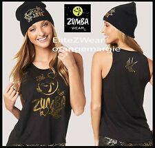 ZUMBA Love Tee Shirt Top Tank w Gold Metallic Foil+Beanie Hat S M L XL 2 Pc.Set!