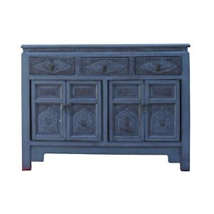 Chinese Distressed Gray Floral Motif Sideboard Console Table Cabinet cs5768
