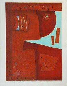 "Hiroyuki Tajima (Japanese, 1911-1984) - ""Good Natured Poet"" Woodcut, 1976"