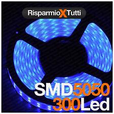 BOBINA STRISCIA LED BLU BLUE 5050 300 LED 5 METRI STRIP IMPERMEABILE IP65