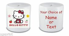 HELLO KITTY  MONEY BOX / PIGGY BANK ANY NAME OR TEXT PRINTED FAST POSTAGE