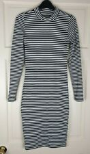 Primark Women's Black/White Stripe Long Sleeve Jumper Bodycon Dress Size 6 / 34