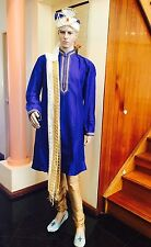 "42"" L Sherwani Suit Indian Bollywood Mens Traditional Kurtha Blue Bronze Gold"